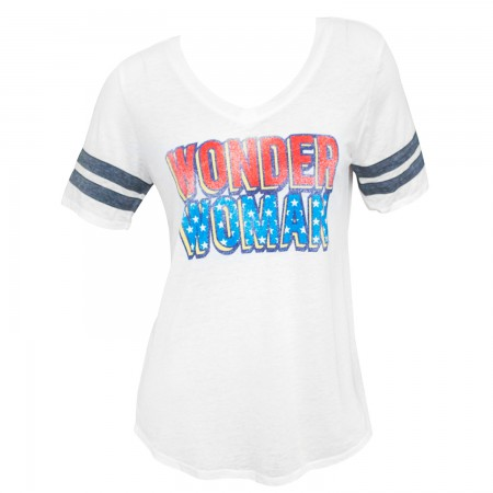 Wonder Woman Ladies White Burnout Varsity T-Shirt