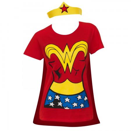 Wonder Woman Cape And Tiara Costume Tee Shirt