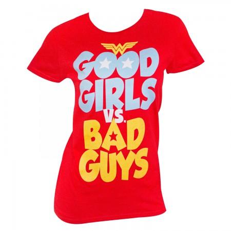 Wonder Woman Women's Red Good Girls Vs. Bad Guys T-Shirt