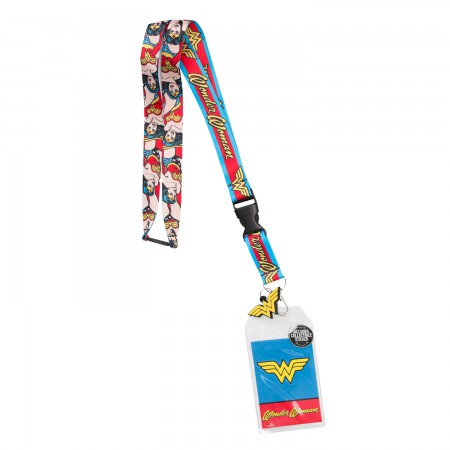Wonder Woman Comic Block Logo Lanyard