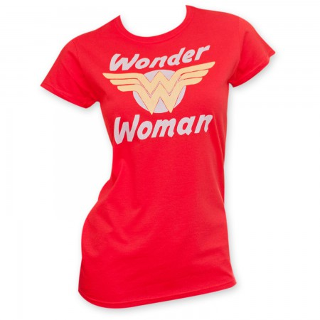 Wonder Woman Junior's Gold Logo Red T-Shirt