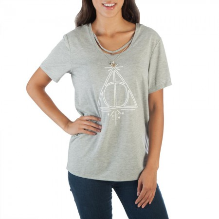 Harry Potter Women's Grey Deathly Hallows Interchangeable Charms T-Shirt