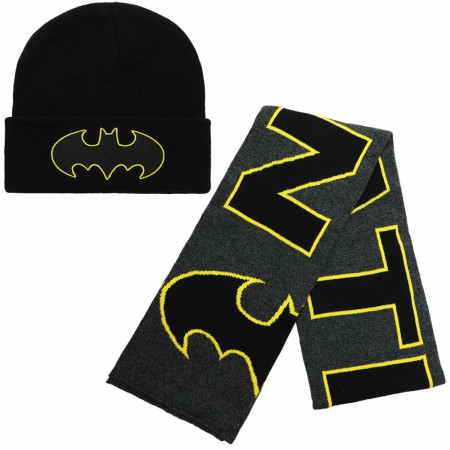 Batman DC Comics Symbol 2-Piece Beanie and Scarf Set