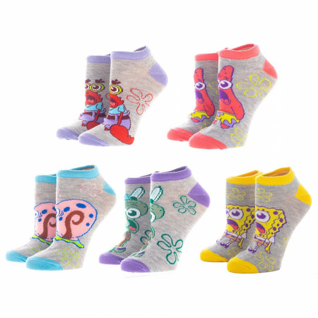 SpongeBob SquarePants Characters 5-Pair Pack of Ankle Socks