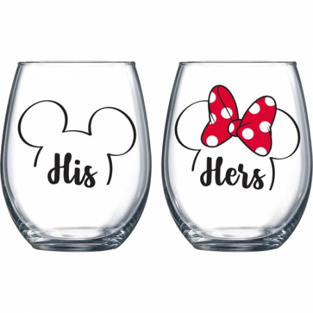 Mickey and Minnie His & Hers Stemless Wine Glass Set