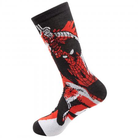 Spider-Man Swinging Black and Red Socks 2-Pair Pack