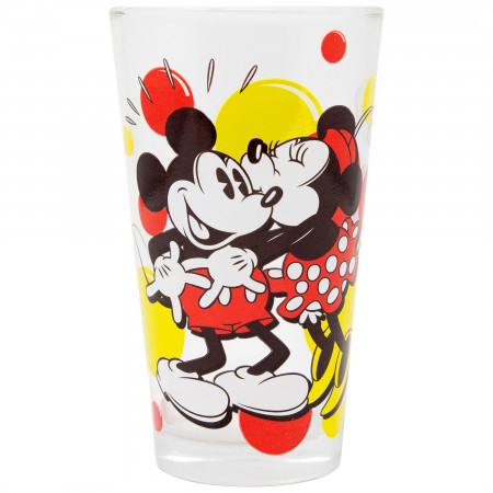 Mickey and Minnie Kissing 16 Ounce Glass