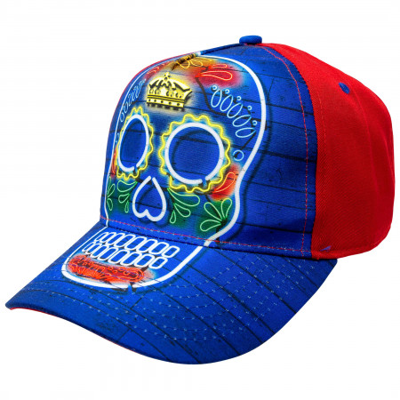 Corona Skull Blue And Red Adjustable Snapback Hat