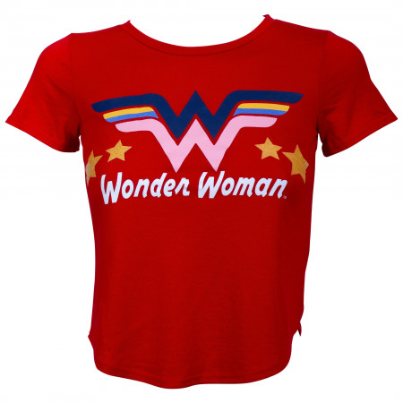 DC Wonder Woman Glitter Star Girl's Red T-Shirt