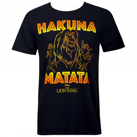 Lion King Hakuna Matata Outline Men's Black T-Shirt