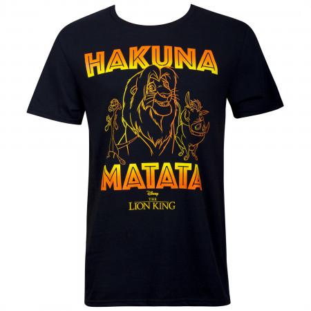 Lion King Hakuna Matata Outline Men's Black T-Shirt