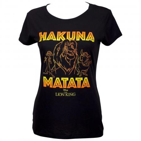Lion King Hakuna Matata Outline Women's Black T-Shirt