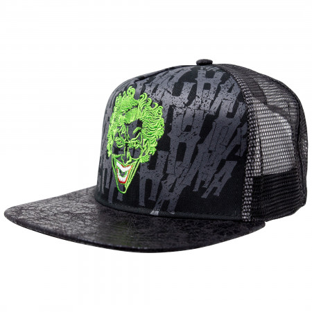 The Joker DC Comics Flat Bill Adjustable Black Mesh Snapback Hat