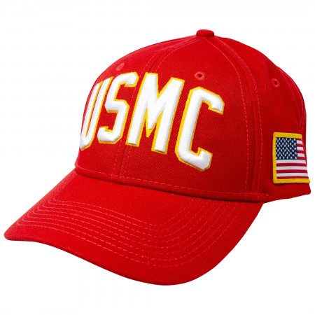USMC Adjustable Red Snapback Hat