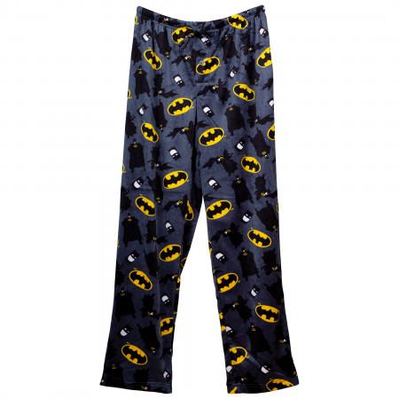 Batman Toss Logos and Characters Fleece Sleep Pants