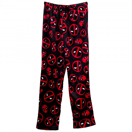 Deadpool Symbols and Head Fleece Sleep Pants