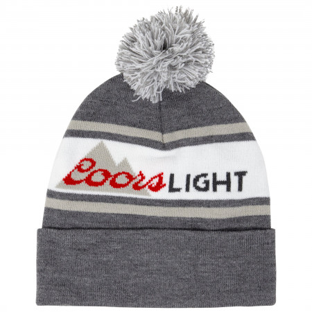 Coors Light Beer Grey And White Winter Pom Beanie