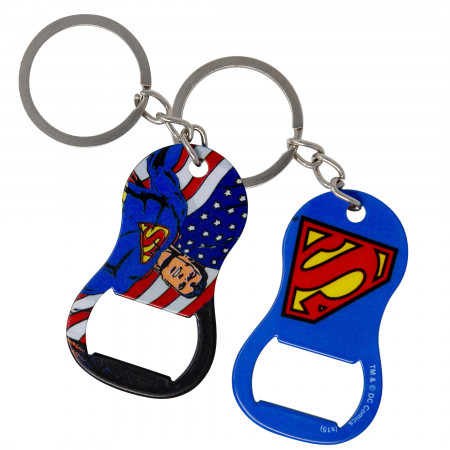 Superman U.S. Flag Keychain Bottle Opener