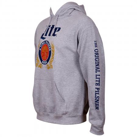 Miller Lite Beer Sleeve Print Men's Grey Hoodie