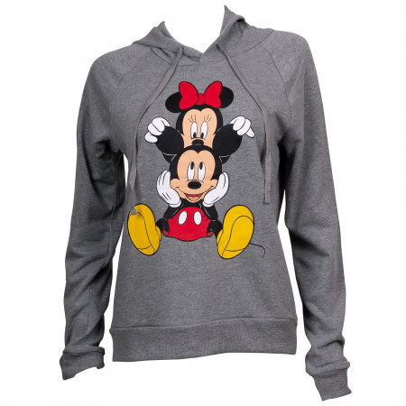 Mickey and Minnie Grey Juniors Fitted Hoodie