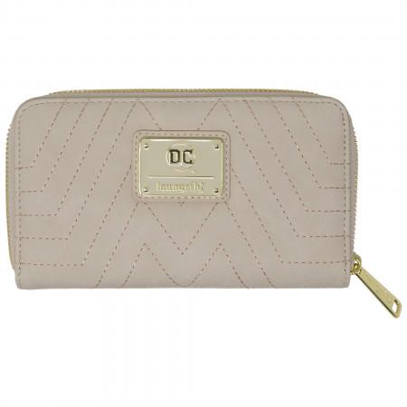 Wonder Woman Golden Faux Leather Zip Around Wallet