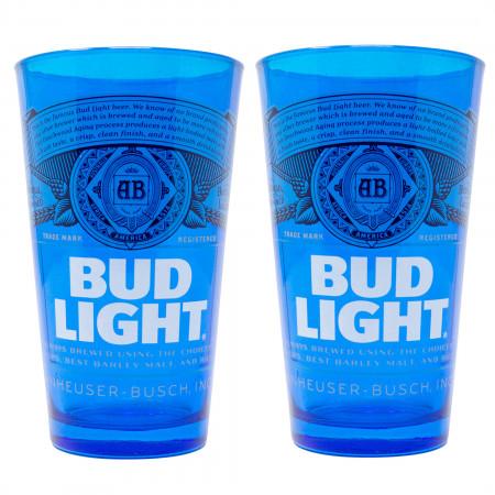 Bud Light Blue Label 2-Piece Pub Set Colored Glasses