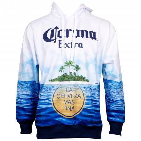 Corona Extra Beer Sublimated Beach Scene Hoodie