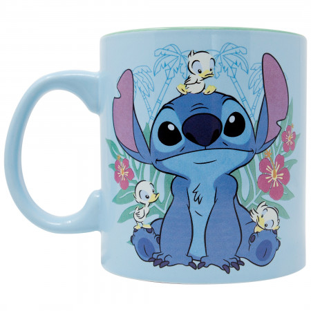 Lilo And Stitch Floral Duck Jumbo Ceramic Mug