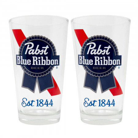 Pabst Blue Ribbon Est. 1844 2-Piece Pub Pint Glass Set