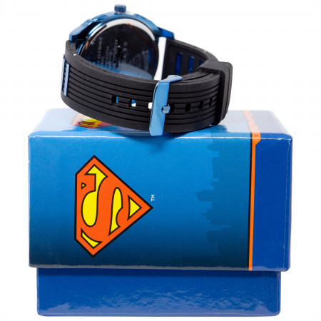 Superman Classic Symbol Watch with Blue and Black Rubber Band