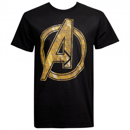 Avengers Gold Distressed Logo Men's T-Shirt