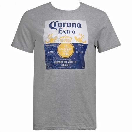 Corona Extra Bottle Label Men's Grey T-Shirt