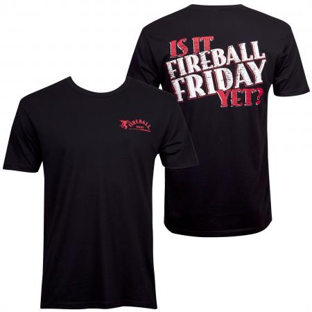 Fireball Cinnamon Whisky Is It Friday Men's Black T-Shirt