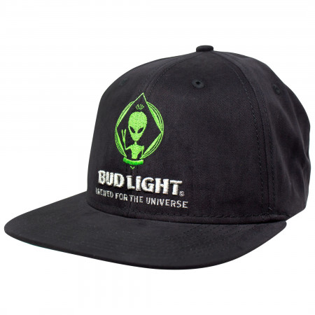 Bud Light Beer Alien Adjustable Black Snapback Hat