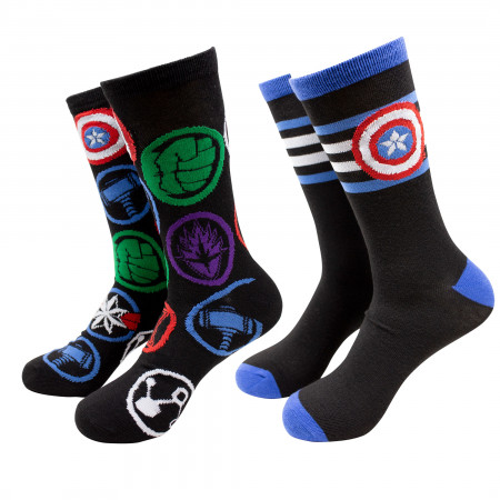 Captain America Striped Symbol and Avengers Logos 2-Pack Crew Socks
