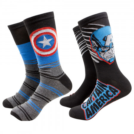 Captain America Shielded 2-Pack Crew Socks
