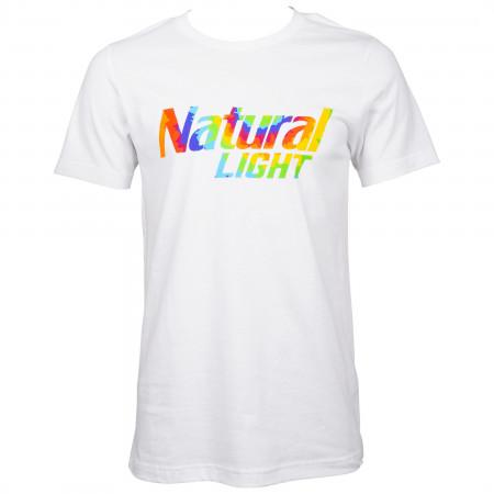 Natural Light Beer Tie Dye Logo White T-Shirt