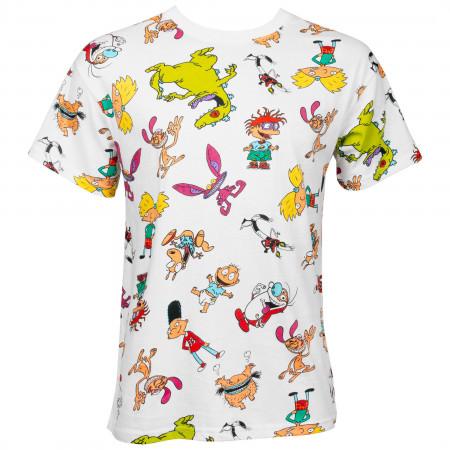 Nicktoons All Over White T-Shirt
