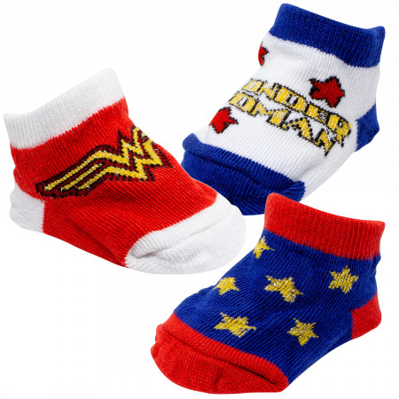 Wonder Woman 3 Pack Baby Socks