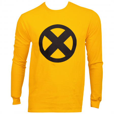 Marvel X-Men Symbol Logo Gold Long Sleeve Shirt