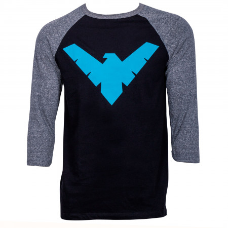 Nightwing Symbol 3/4 Sleeve Baseball T-Shirt