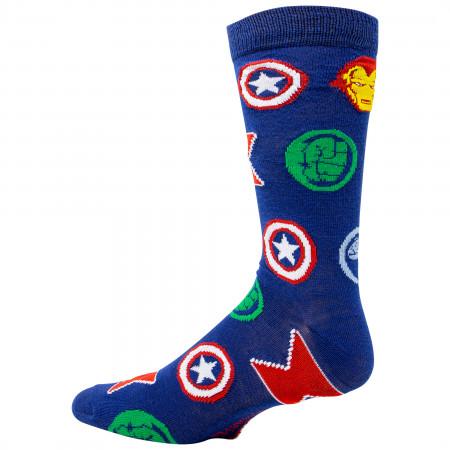 Avengers Repeating Symbols Crew Socks
