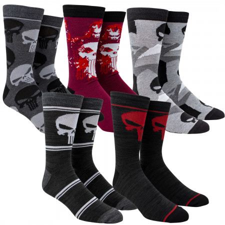 Marvel Punisher Men's Crew Socks 5-Pack