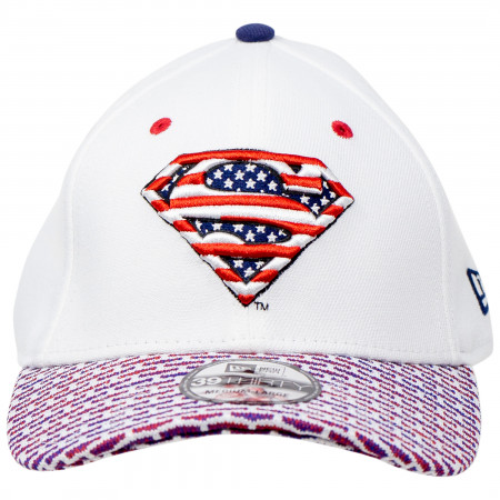 Superman Red White and Blue Themed New Era 39Thirty Fitted Hat