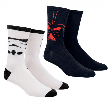 Star Wars Darth Vader and Stormtrooper Costume 2-Pack Crew Socks