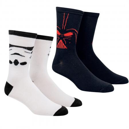 Star Wars Darth Vader and Stormtrooper Costume 2-Pack Crew Socks