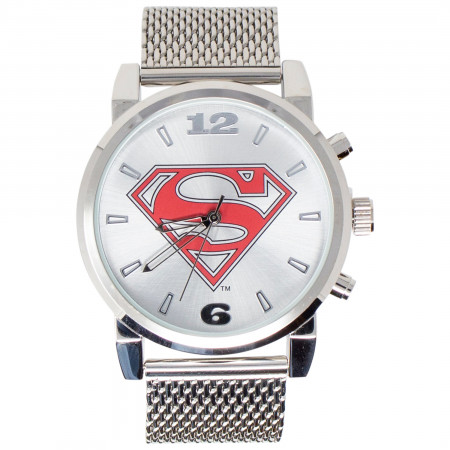 Superman Symbol Watch with Chain Metal Band