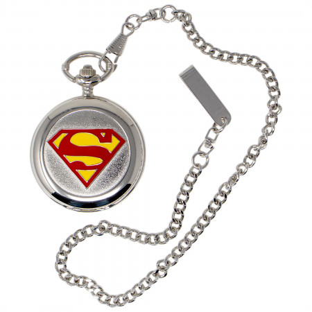 Superman Symbol Silver Pocket Watch
