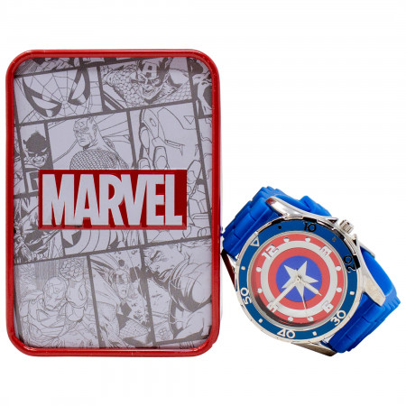 Captain America Shield Watch with Blue Rubber Band