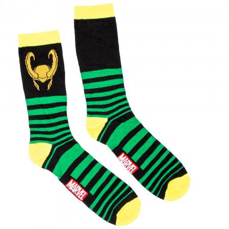 Loki Helmet Striped Crew Socks